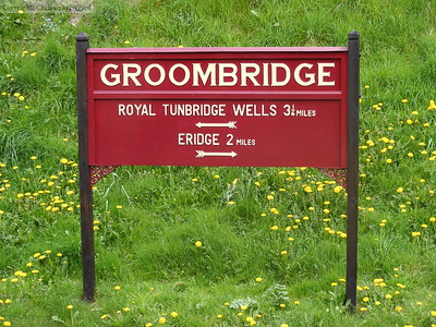 Distance sign at Groombridge station