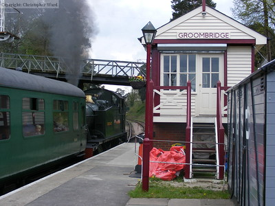 Groombridge signalbox looms over the Prairie with an Eridge train