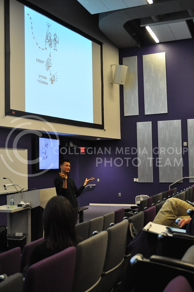 "Jorge Cham, co-producer of the YouTube channel, Piled Higher and Deeper, and comic artist, speaks to students in the Fiedler Hall Auditorium Oct. 31, 2017 about the importance of writing papers and getting them peer-reviewed during his presentation, ""The Space Gap."""