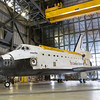 Inside Vehicle Assembly Building (VAB) High Bay 4, Space Shuttle Atlantis sits in storage after being moved from Orbiter Processing Facility #1 on June 29, 2012. Atlantis will stay inside the VAB until mid-August when Endeavour leave OPF-2 so crews can finish preperations for Atlantis display.