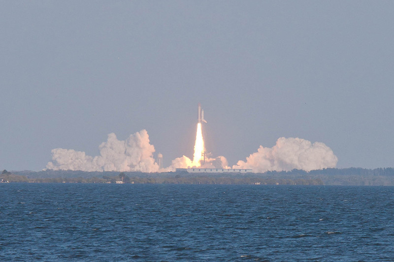 Space Shuttle Discovery STS-133, 02/24/11 on her final launch. Taken on the banks of the Indian River in Titusville, FL.
