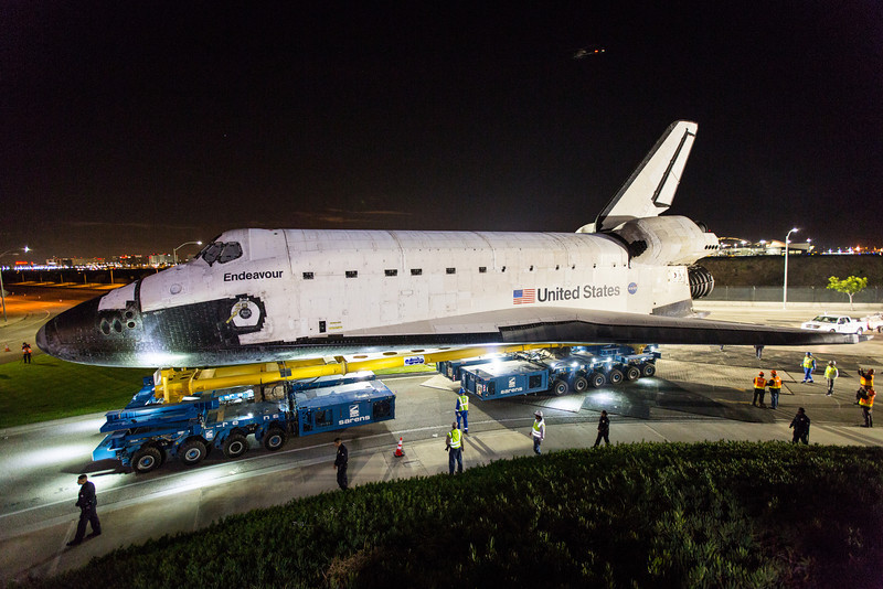 "Over the course of three days space shuttle Endeavour made the move billed as ""Mission 26"" from Los Angeles International airport to the California Science Center. The 12 mile journey began during the early morning hours of October 12, 2012. Endeavour eventually arrived at the California Science Center on Sunday October, 14th. Photo: Walter Scriptunas II/SpacefligthNow"