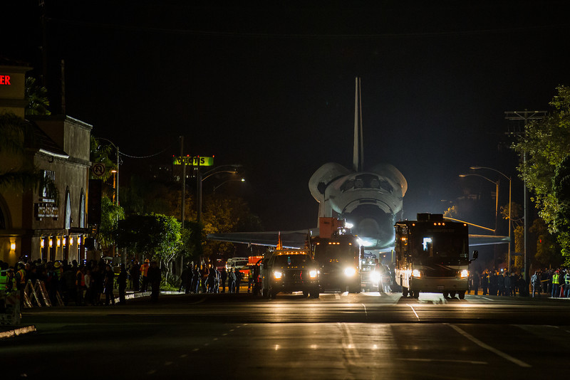 """Over the course of three days space shuttle Endeavour made the move billed as """"Mission 26"""" from Los Angeles International airport to the California Science Center. The 12 mile journey began during the early morning hours of October 12, 2012. Endeavour eventually arrived at the California Science Center on Sunday October, 14th. Photo: Walter Scriptunas II/SpacefligthNow"""