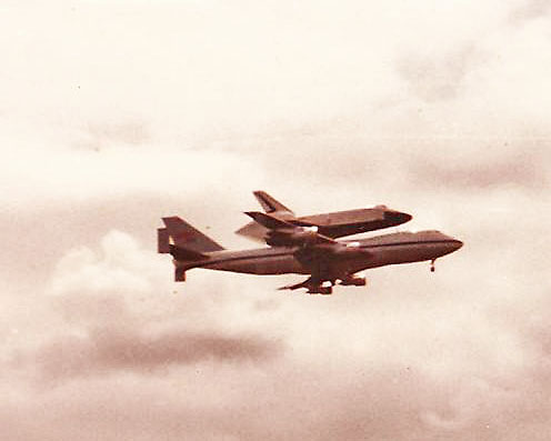 1983? The Space Shuttle Enterprise came thru Wichita for a refueling stop. It had landed at Edwards AFB in California and was being returned to Cape Kennedy, FLA for a future launch.