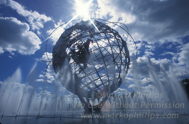 The Unisphere in Corona Park, New York City, built for the 1964 World's Fair denotes the three orbits by John Glenn on February 20, 1962.