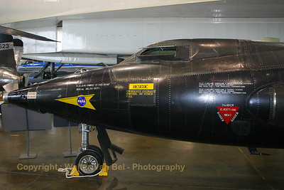 Close-up of the front section of a NASA North American X-15A-2 (56-6671 ; cn 240-2), preserved - under the enormous wing of an XB-70 - in the USAF Museum at Wright-Patterson Air Force Base, Ohio.