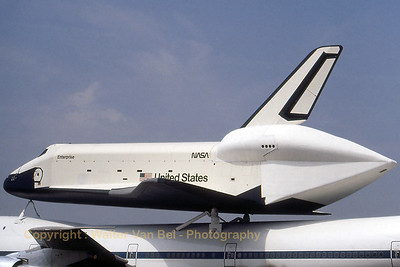 "Space Shuttle ""Enterprise"" (OV-101 (cn OV-101) - on top of 747-123SCA (reg.N905NA) - during the Paris Air and Space Show at Le Bourget. Scan from old slide."
