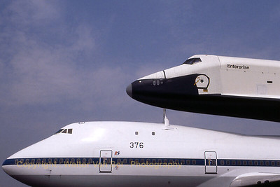 """Boeing 747-123 (SCA) - N905NA / 376 (cn 20107/86) - with piggyback load space shuttle """"Enterprise OV-101"""", at the Le Bourget Airshow. Scan from old slide."""