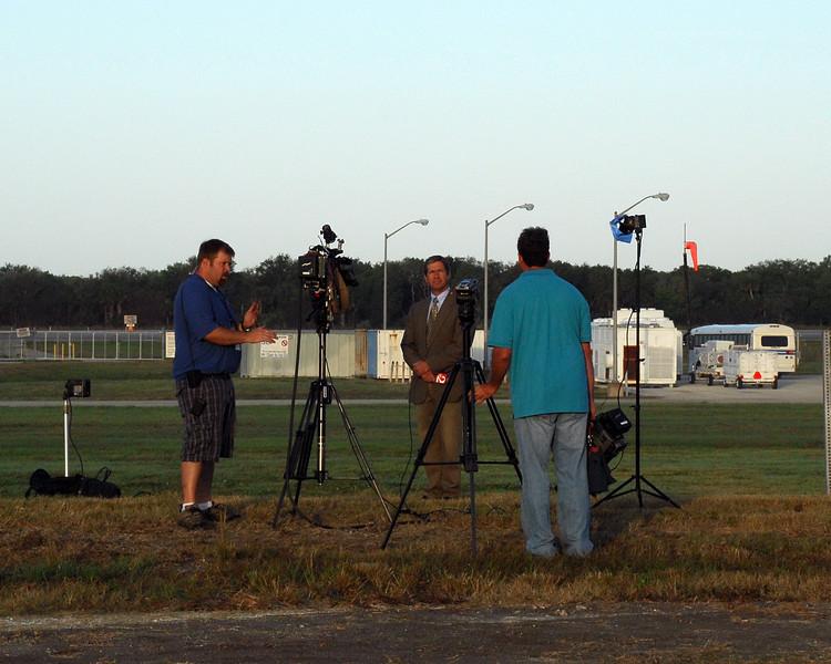 Finishing up a live tv shot.