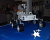 "A scale model of the Mars Rover ""Curiosity' on display inside the NASA press facility."