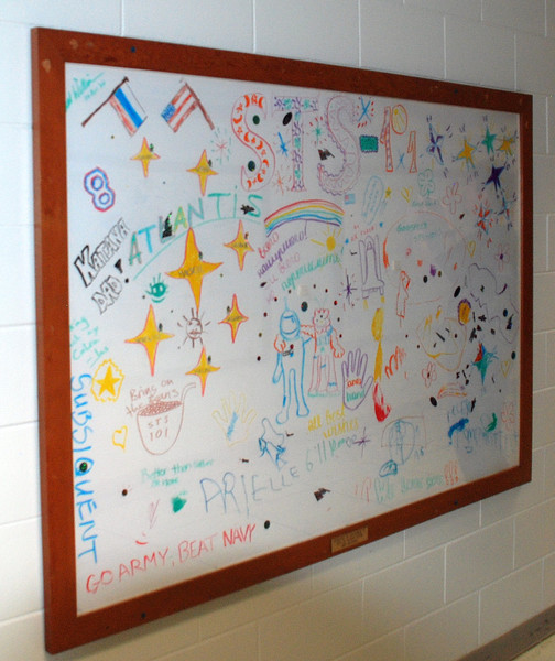 These large drawings are hung in the hallways of the LCC building, they have been done by the children and families of all the shuttle missions flown.