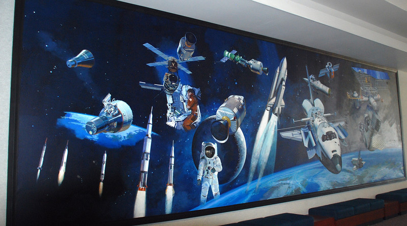 This large mural is on the wall of the main entrance of the LCC building.