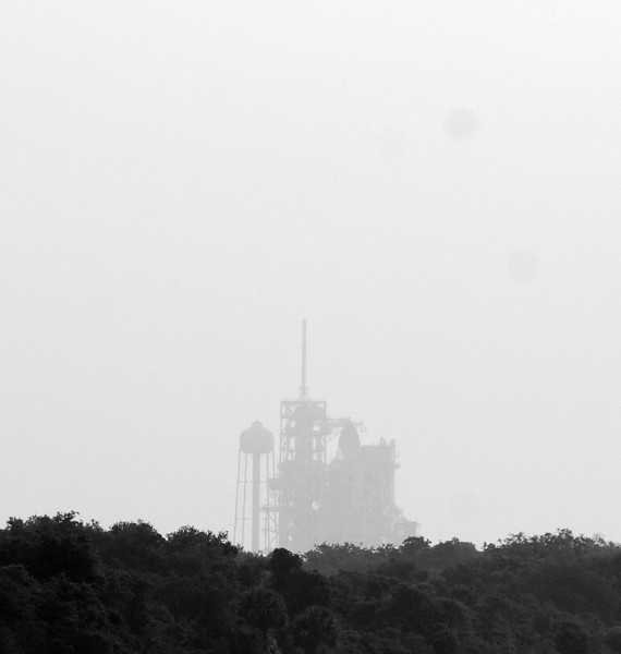 Endeavour in the morning fog.