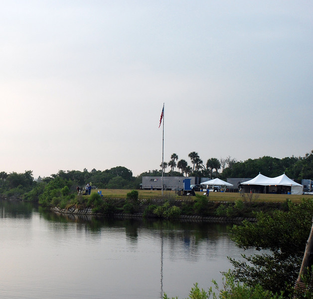 The BBCC (big blue countdown clock) , and press area from across the lagoon.