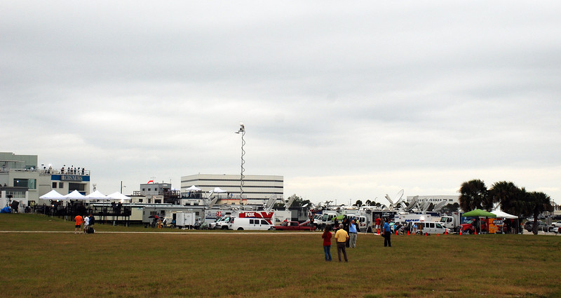 Looking back from the BBCC at the permanent media complex and the mobile broadcast truck farm.