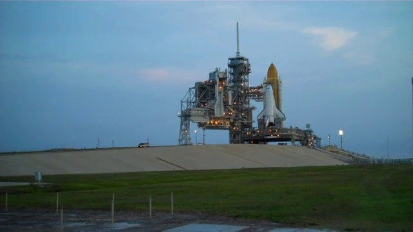 Space Shuttle Atlantis on the launch pad at sunup. The Last Space Shuttle that will ever launch from pad 39A