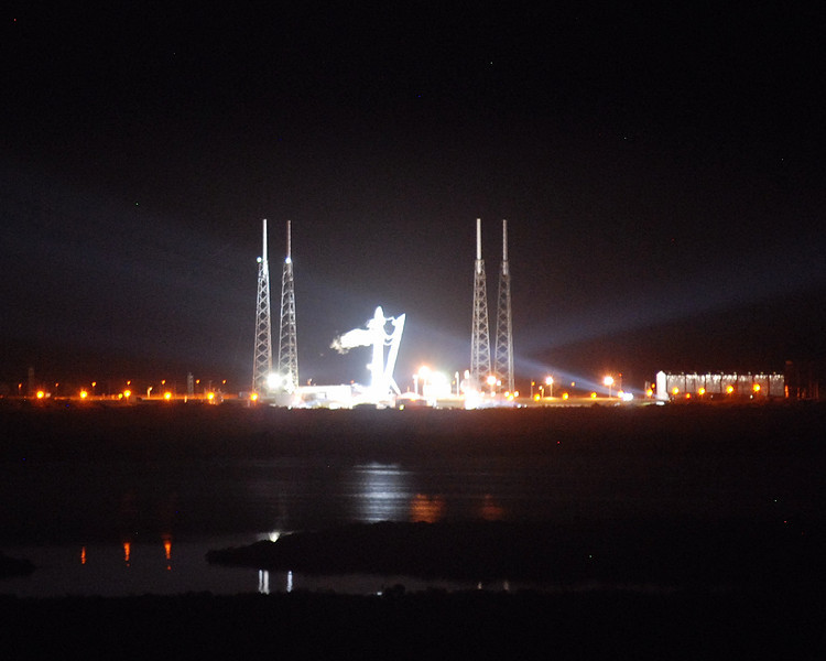 Spacex Falcon 9 on pad just before liftoff.