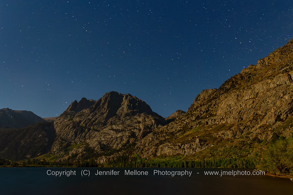 Stars on a Moonlit Night over Silver Lake Near Mammoth, California