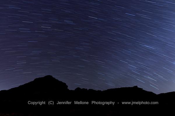 Star Trails Mountain Silhouette Near Grafton, Utah