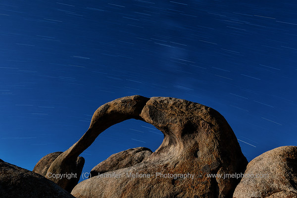 Star Trails over Moonlit Mobius Arch in Alabama Hills Near Lone Pine, California