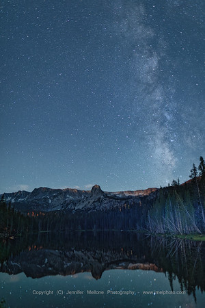 Milky Way with Stars and Mountain Reflections at Lake Mamie, California