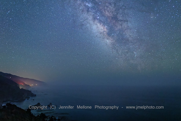 Big Sur Lights Through the Mist with Milky Way Offshore