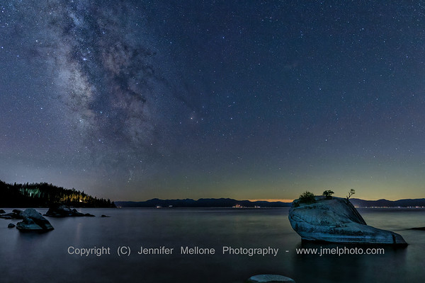 Lake Tahoe's Bonzai Rock with Milky Way