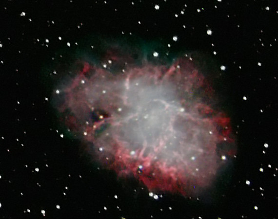 Crab Nebula: Cataloged as M1, the first object on Charles Messier's famous list of things which are not comets.This is the mess that is left when a star explodes. The Crab Nebula, the result of a supernova seen in 1054 AD, is filled with mysterious filaments. The filaments are not only tremendously complex, but appear to have less mass than expelled in the original supernova and a higher speed than expected from a free explosion. The Crab Nebula spans about 10 light-years. In the nebula's very center lies a pulsar: a neutron star as massive as the Sun but with only the size of a small town. The Crab Pulsar rotates about 30 times each second.