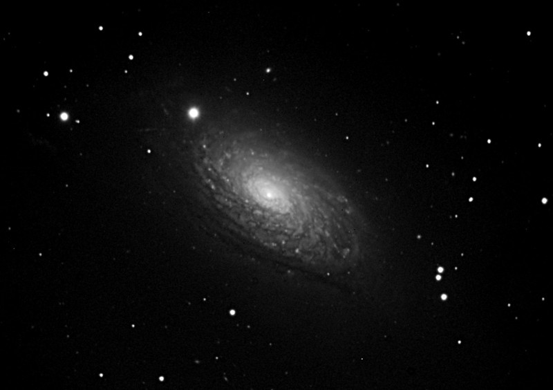 A bright spiral galaxy of the northern sky, Messier 63 is about 25 million light-years distant in the loyal constellation Canes Venatici. Also cataloged as NGC 5055, the majestic island universe is nearly 100,000 light-years across, about the size of our own Milky Way. Known by the popular moniker, The Sunflower Galaxy. Unfortunately no RGB data for this galaxy.