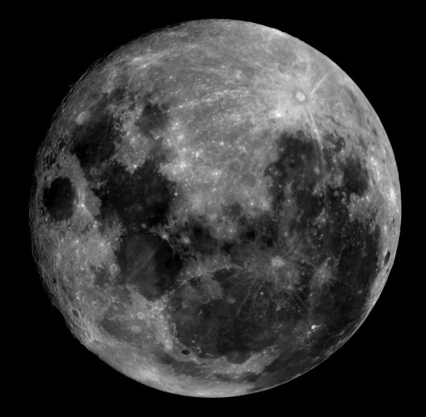 Full moon mosaic. This image is made up of 9 individual images taken through a hydrogen-alpha filter (the moon is too bright to be imaged unfiltered with my camera). Although not as technically challenging as some of our deep sky targets, this photo is not too bad as far as resolution and aesthetics are concerned.