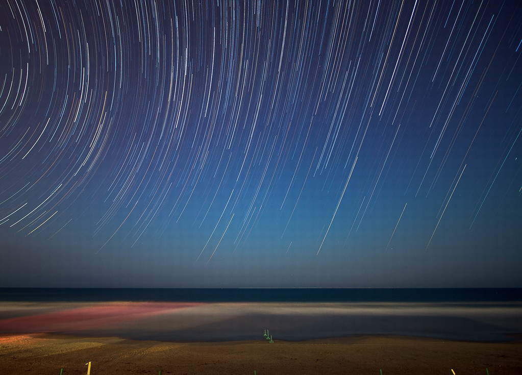 Roughly 75 minutes worth of star trails, over Daytona Beach, Florida, between 4:30 am and 5:45 am.