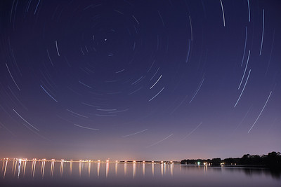 02/07/2009  Star Trails over the Buckman Bridge; roughly 1 hour......that's Downtown Jacksonville about a third of the way over from the left.  If you are interested in photographing star trails yourself, check out our article, How to Photograph Star Trails!