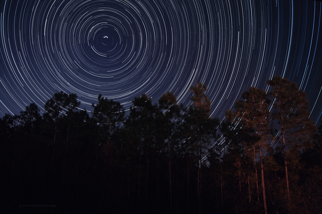 """Star Trails in our backyard on 11/25/2008.  This is a combination of 495 30-second exposures, from 9:21 pm until 1:54 am.  If you are interested in photographing star trails yourself, check out our article, <a href=""""http://www.jamesvernacotola.com/Resources/How-To-Photograph-Star-Trails/12233655_6n3up"""">How to Photograph Star Trails</a>!"""