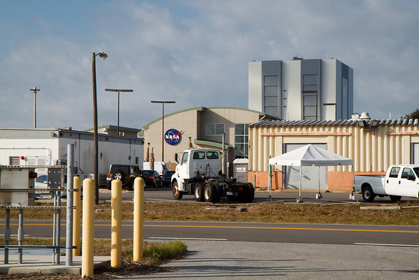 The old Propellants Facility, the new Propellants Facility, and the Vehicle Assembly Building