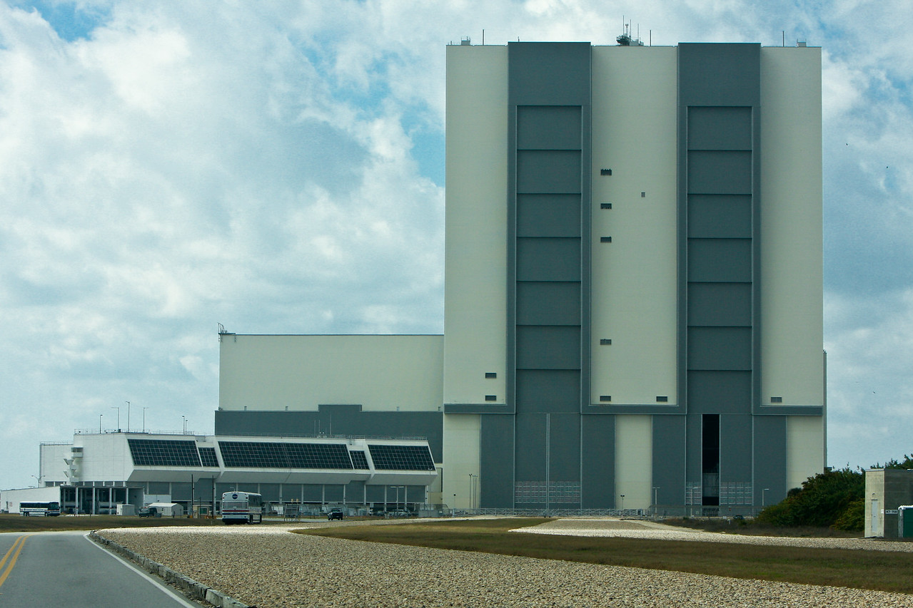The control center with the newer windows, and the Vehicle Assembly Building