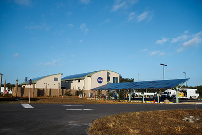 The Propellants North Administration and Maintenance Facility. The Structure for the solar electric car recharging station was also built from recycled materials form the old Launch Control Center Windows.