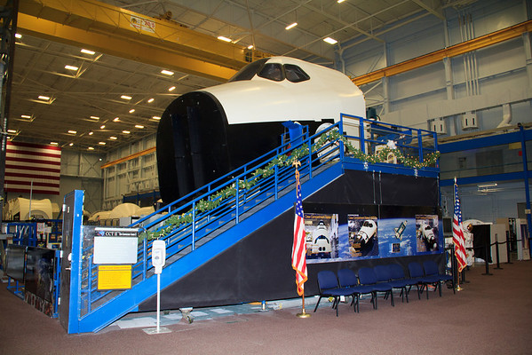 This is called Crew Compartment Trainer II. It was manufactured to flight specifications and used to train astronauts during the shuttle missions, and is the highest fidelity of the Orbiter mockup trainers.