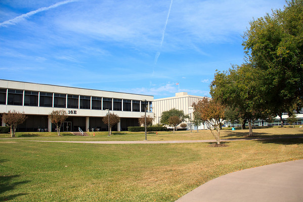 A view of the Johnson Space Center campus, with the Mission Control Center in the background
