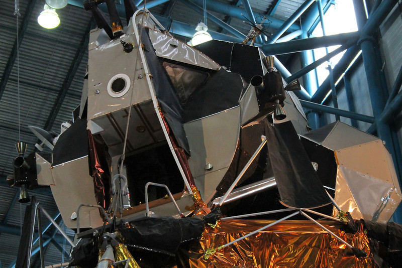 Closeup of the lunar module, note the LPD graticle in pilot window.
