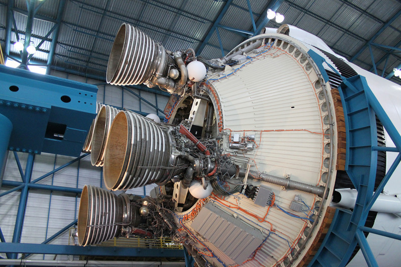 Second stage engines of the Saturn V.