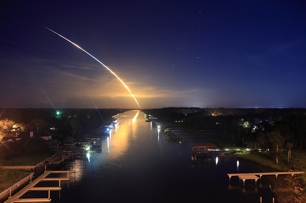 08/28/2009 at 11:59 pm - Launch of Space Shuttle Discovery STS-128, shot from the Intracoastal Waterway Bridge in Palm Valley...roughly 115 miles from the launch pad.