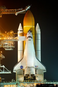 02/23/2011 -- Cape Canaveral, Florida -- Space shuttle Discovery is revealed at Launch Pad 39A Wednesday night after the rotating service structure (RSS) rollback.