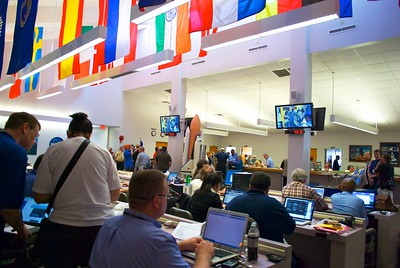 02/24/2011 -- Cape Canaveral, Florida -- Members of the media work at the Kennedy Space Center news site.
