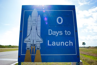 02/24/2011 -- Cape Canaveral, Florida -- A sign at Kennedy Space Center signifies the approaching space shuttle Discovery's STS-133 launch.