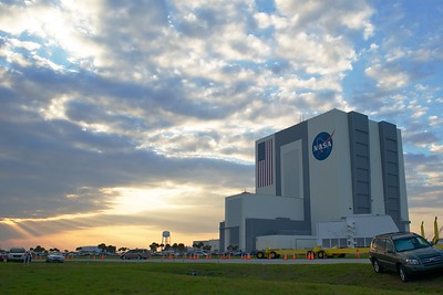 02/24/2011 -- Cape Canaveral, Florida -- The sun sets beyond the Vehicle Assembly Building at Kennedy Space Center following space shuttle Discovery's STS-133 launch.