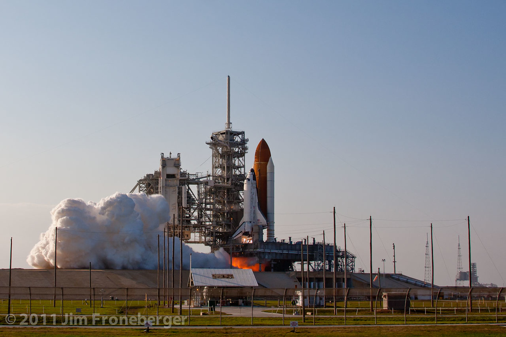 The launch of Discovery on  STS-133 as seen from a remotely triggered camera