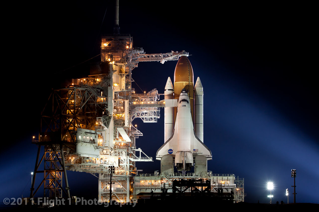 Shuttle Endeavour on Pad 39A awaiting her final launch