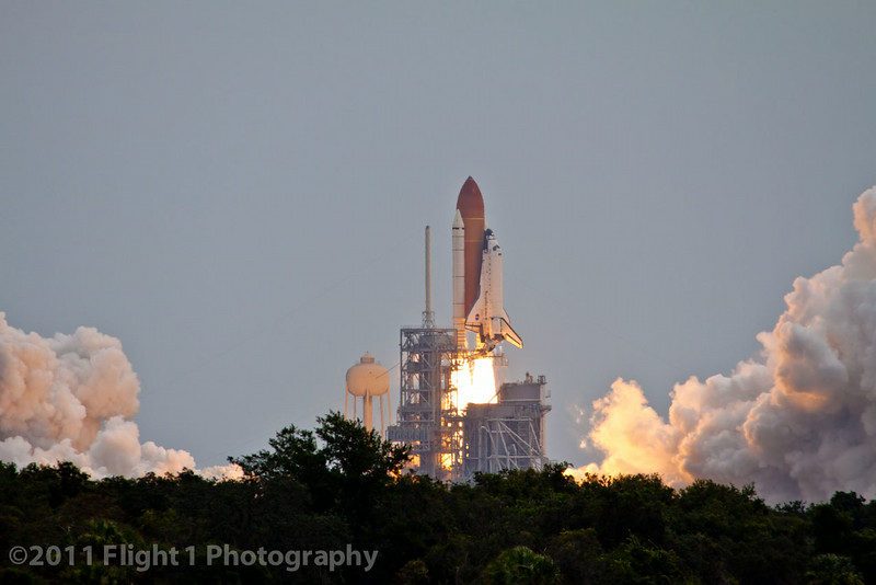 The launch of Atlantis on  STS-135 from the Kennedy Space Center press site