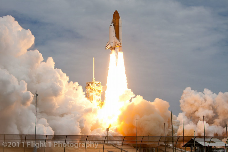 The launch of Atlantis on  STS-135 as seen from a remotely triggered camera