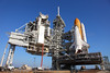 STS 131 Discovery on pad 39A during the loading of the payload cannister - 3/19/2010